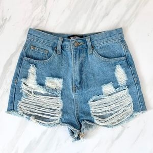 Missguided High-Waisted Distressed Shorts
